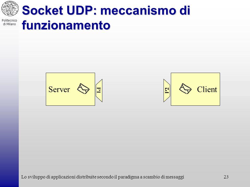 Politecnico di Milano Lo sviluppo di applicazioni distribuite secondo il paradigma a scambio di messaggi23 Socket UDP: meccanismo di funzionamento Ser