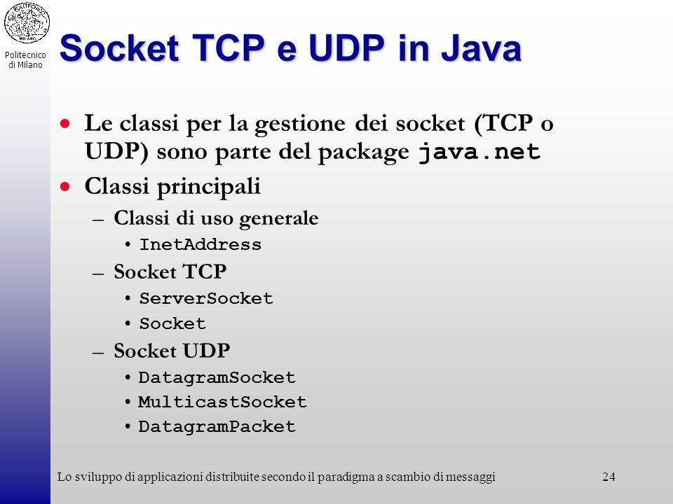 Politecnico di Milano Lo sviluppo di applicazioni distribuite secondo il paradigma a scambio di messaggi24 Socket TCP e UDP in Java Le classi per la g