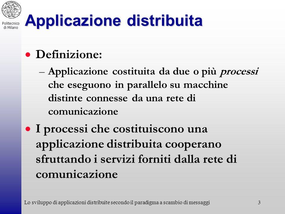 Politecnico di Milano Lo sviluppo di applicazioni distribuite secondo il paradigma a scambio di messaggi3 Applicazione distribuita Definizione: –Appli