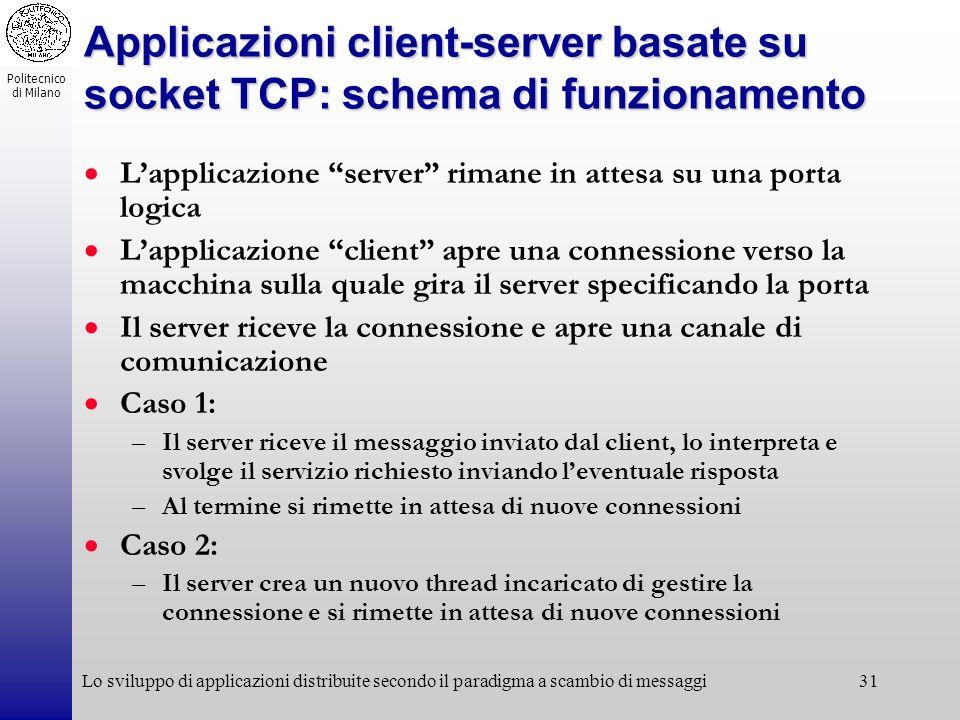 Politecnico di Milano Lo sviluppo di applicazioni distribuite secondo il paradigma a scambio di messaggi31 Applicazioni client-server basate su socket