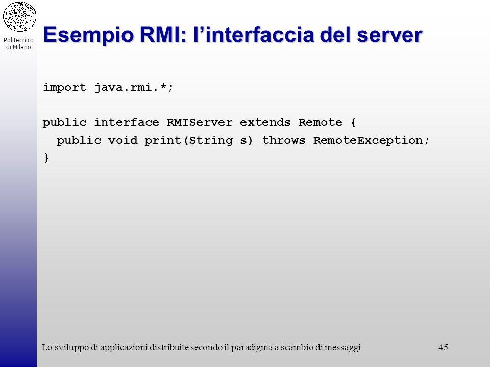 Politecnico di Milano Lo sviluppo di applicazioni distribuite secondo il paradigma a scambio di messaggi45 Esempio RMI: linterfaccia del server import