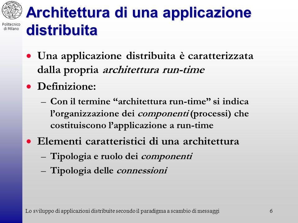Politecnico di Milano Lo sviluppo di applicazioni distribuite secondo il paradigma a scambio di messaggi6 Architettura di una applicazione distribuita