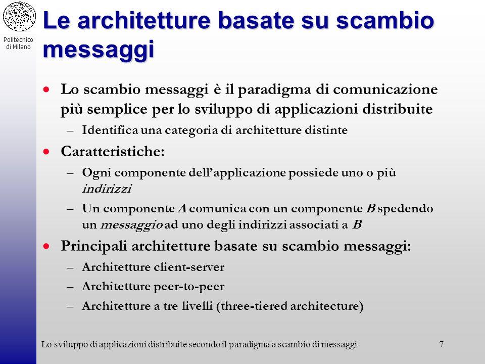 Politecnico di Milano Lo sviluppo di applicazioni distribuite secondo il paradigma a scambio di messaggi7 Le architetture basate su scambio messaggi L