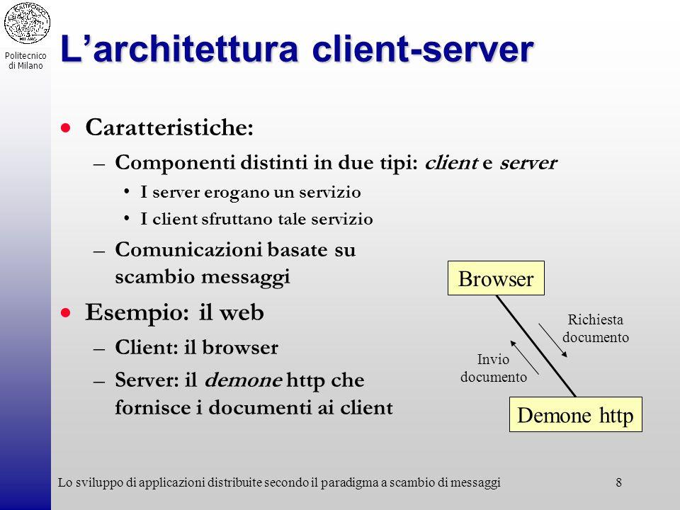 Politecnico di Milano Lo sviluppo di applicazioni distribuite secondo il paradigma a scambio di messaggi8 Larchitettura client-server Caratteristiche: