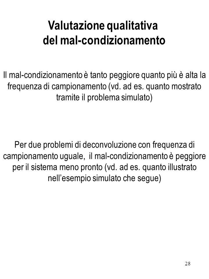 28 Il mal-condizionamento è tanto peggiore quanto più è alta la frequenza di campionamento (vd. ad es. quanto mostrato tramite il problema simulato) P