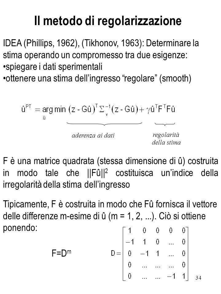 34 IDEA (Phillips, 1962), (Tikhonov, 1963): Determinare la stima operando un compromesso tra due esigenze: spiegare i dati sperimentali ottenere una s