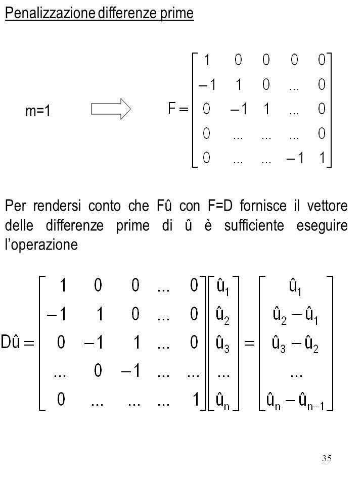 35 m=1 Per rendersi conto che Fû con F=D fornisce il vettore delle differenze prime di û è sufficiente eseguire loperazione Penalizzazione differenze