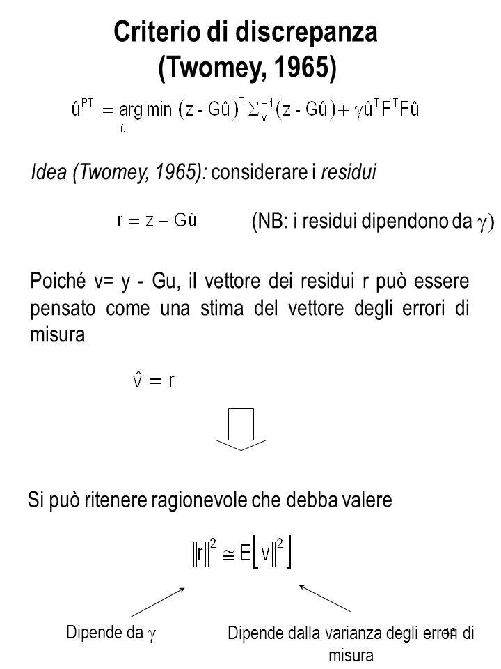 42 Criterio di discrepanza (Twomey, 1965) Idea (Twomey, 1965): considerare i residui (NB: i residui dipendono da Poiché v= y - Gu, il vettore dei resi