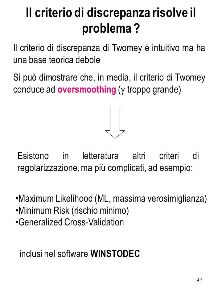 47 Il criterio di discrepanza di Twomey è intuitivo ma ha una base teorica debole Si può dimostrare che, in media, il criterio di Twomey conduce ad ov