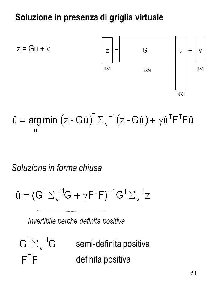 51 z = Gu + v Soluzione in presenza di griglia virtuale nX1 nXN NX1 nX1 =+ zGuv Soluzione in forma chiusa invertibile perchè definita positiva semi-de