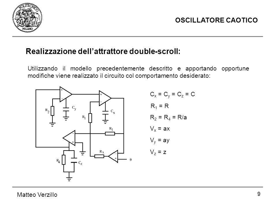 9 OSCILLATORE CAOTICO Matteo Verzillo Utilizzando il modello precedentemente descritto e apportando opportune modifiche viene realizzato il circuito c