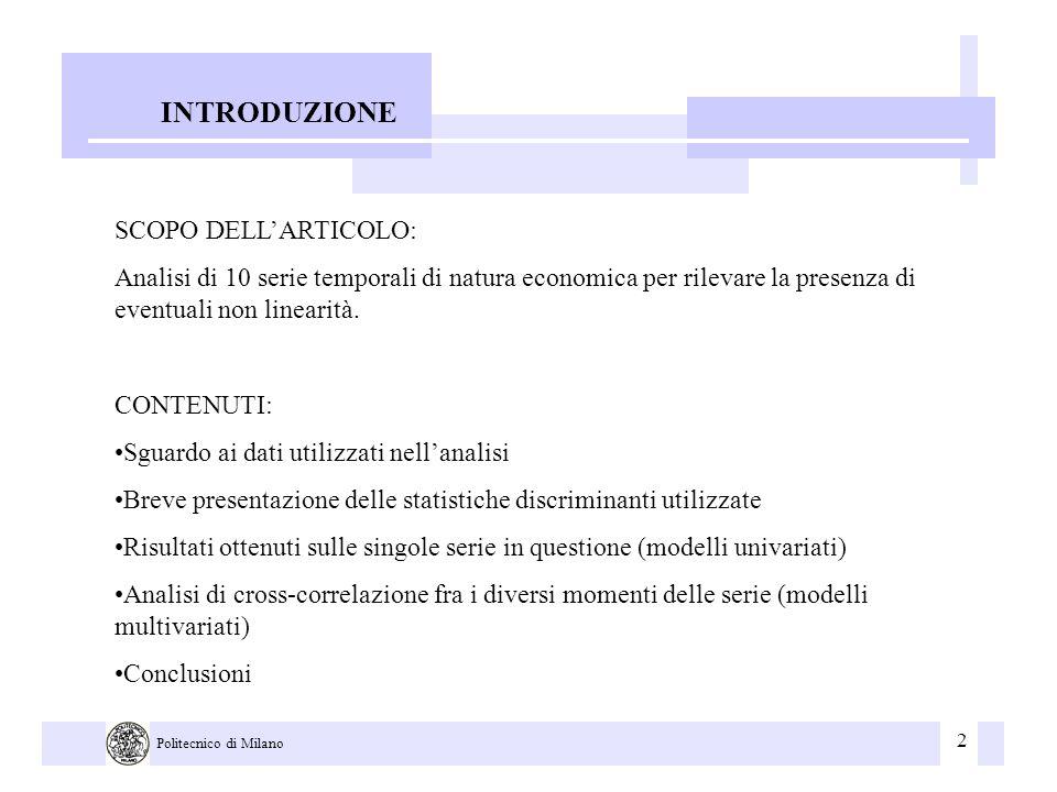 2 Politecnico di Milano INTRODUZIONE SCOPO DELLARTICOLO: Analisi di 10 serie temporali di natura economica per rilevare la presenza di eventuali non l