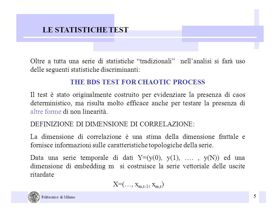 5 Politecnico di Milano LE STATISTICHE TEST Oltre a tutta una serie di statistiche tradizionali nellanalisi si farà uso delle seguenti statistiche dis