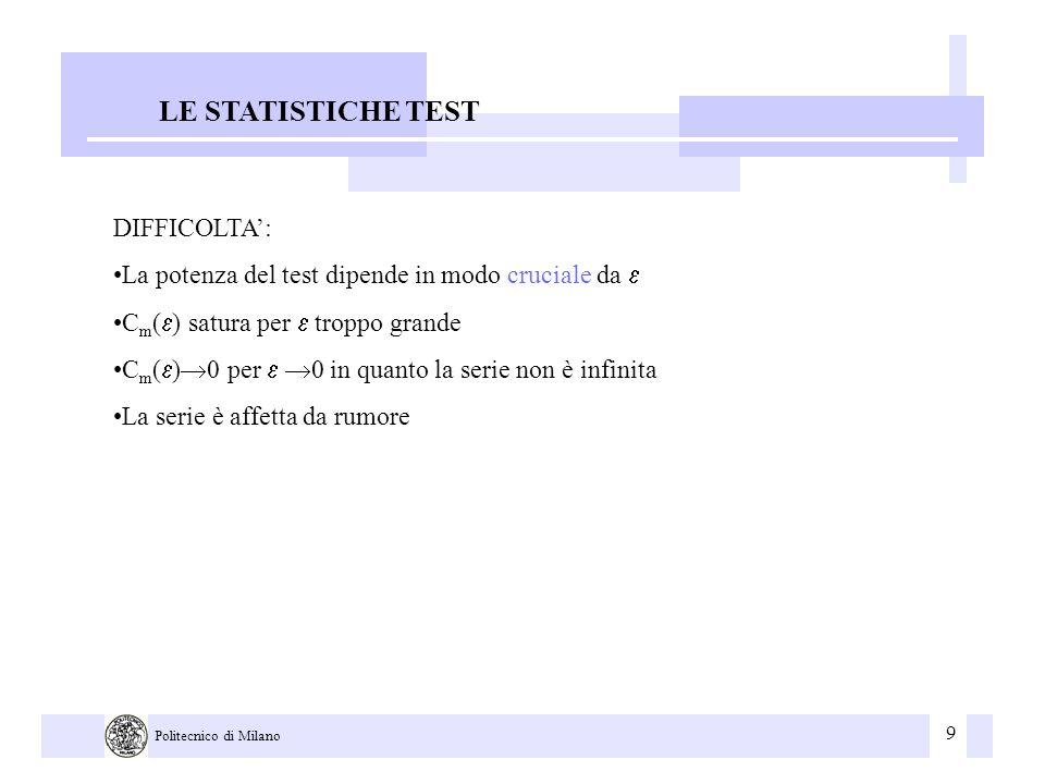 9 Politecnico di Milano LE STATISTICHE TEST DIFFICOLTA: La potenza del test dipende in modo cruciale da C m ( ) satura per troppo grande C m ( ) 0 per