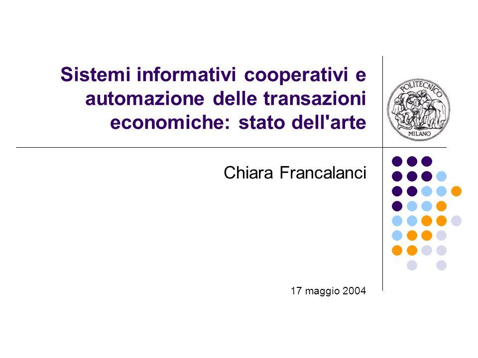 Sistemi informativi cooperativi e automazione delle transazioni economiche: stato dell arte Chiara Francalanci 17 maggio 2004