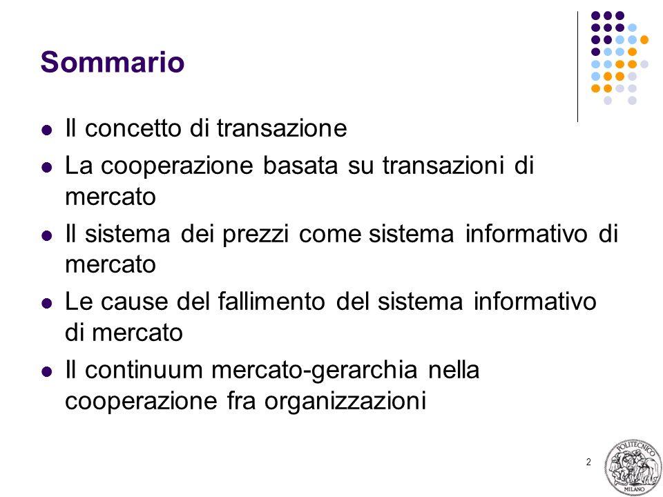 2 Sommario Il concetto di transazione La cooperazione basata su transazioni di mercato Il sistema dei prezzi come sistema informativo di mercato Le cause del fallimento del sistema informativo di mercato Il continuum mercato-gerarchia nella cooperazione fra organizzazioni