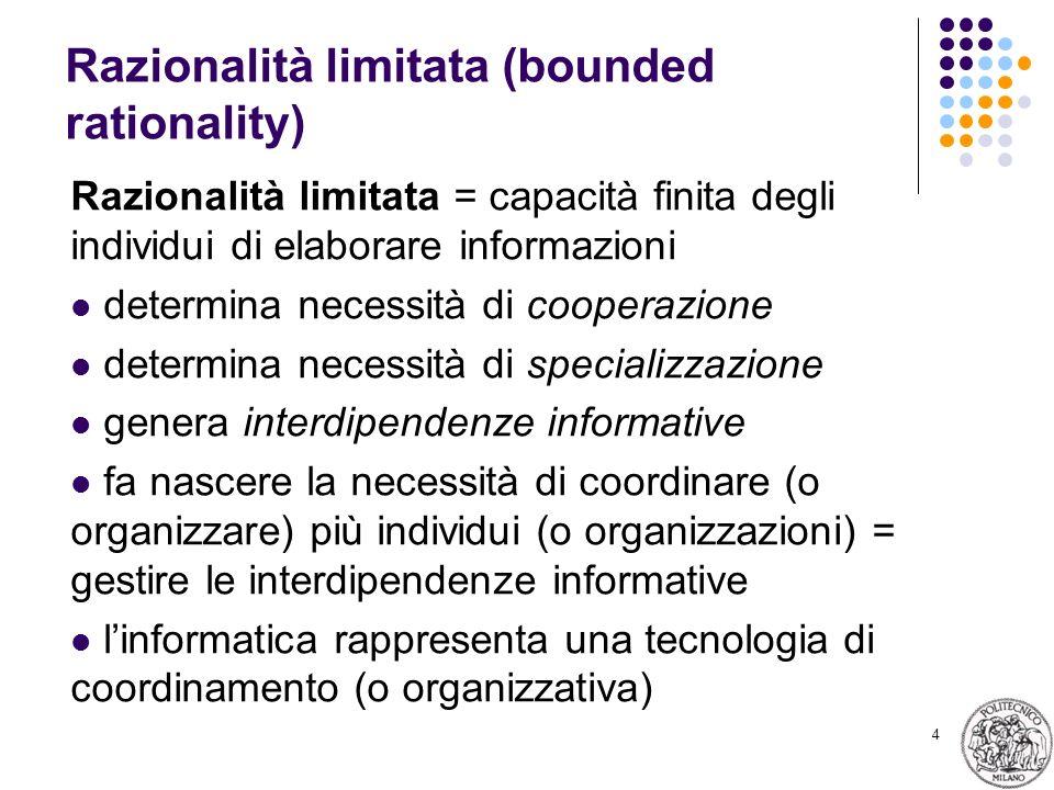 4 Razionalità limitata (bounded rationality) Razionalità limitata = capacità finita degli individui di elaborare informazioni determina necessità di cooperazione determina necessità di specializzazione genera interdipendenze informative fa nascere la necessità di coordinare (o organizzare) più individui (o organizzazioni) = gestire le interdipendenze informative linformatica rappresenta una tecnologia di coordinamento (o organizzativa)