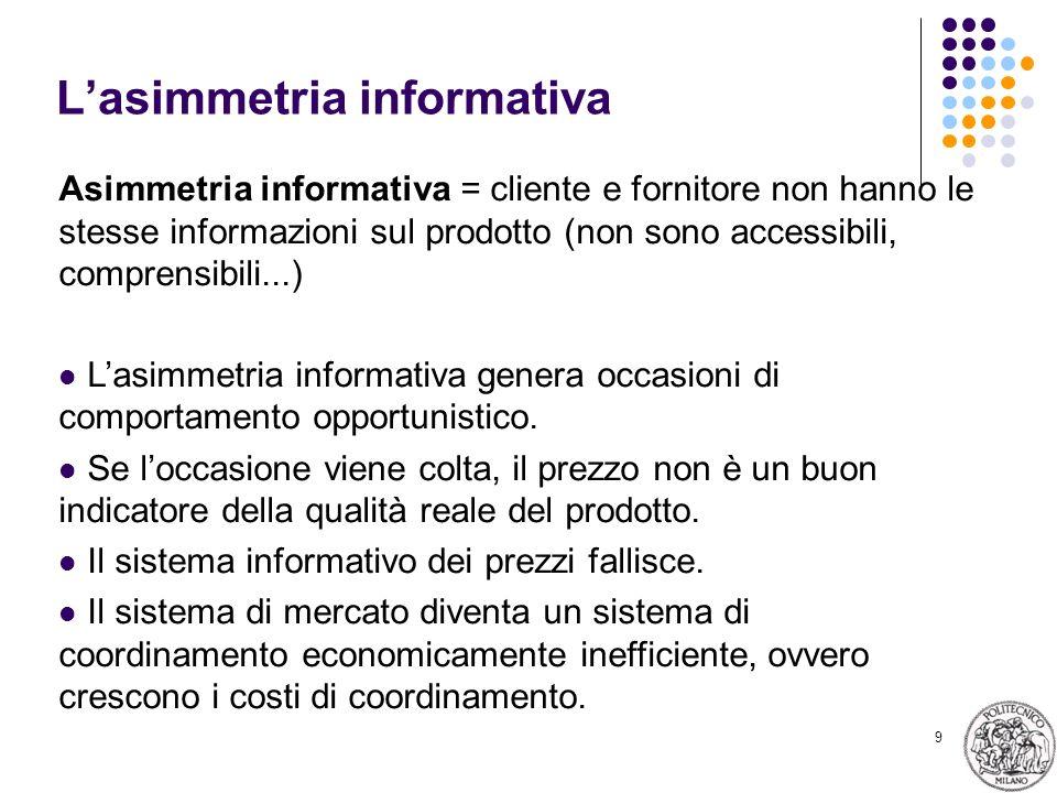 9 Lasimmetria informativa Asimmetria informativa = cliente e fornitore non hanno le stesse informazioni sul prodotto (non sono accessibili, comprensibili...) Lasimmetria informativa genera occasioni di comportamento opportunistico.