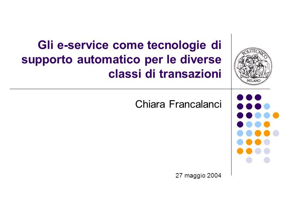 Gli e-service come tecnologie di supporto automatico per le diverse classi di transazioni Chiara Francalanci 27 maggio 2004