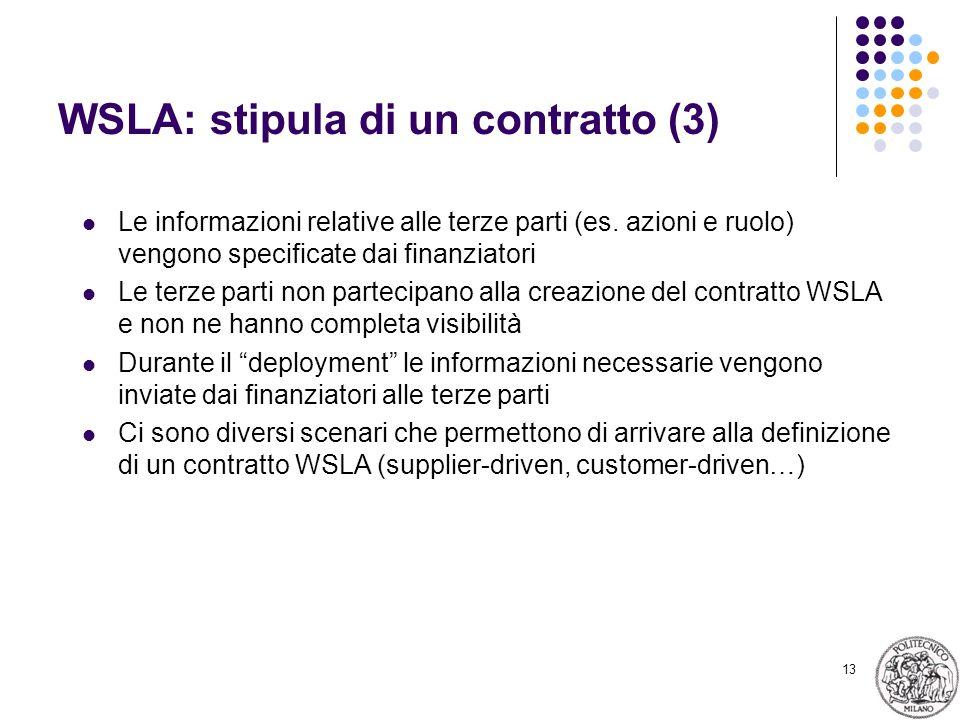 13 WSLA: stipula di un contratto (3) Le informazioni relative alle terze parti (es.