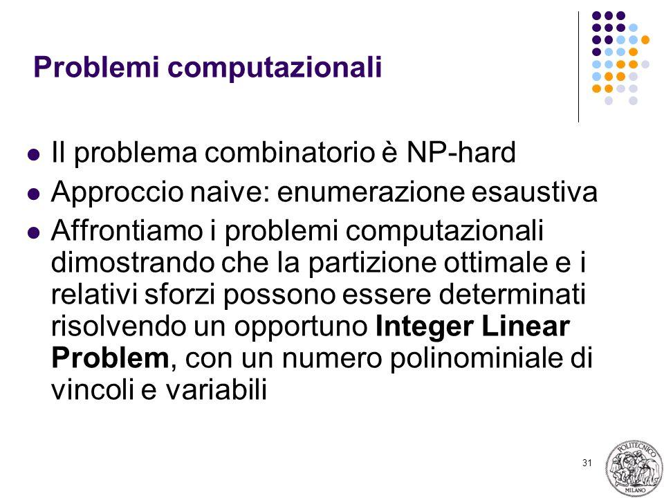 31 Problemi computazionali Il problema combinatorio è NP-hard Approccio naive: enumerazione esaustiva Affrontiamo i problemi computazionali dimostrando che la partizione ottimale e i relativi sforzi possono essere determinati risolvendo un opportuno Integer Linear Problem, con un numero polinominiale di vincoli e variabili