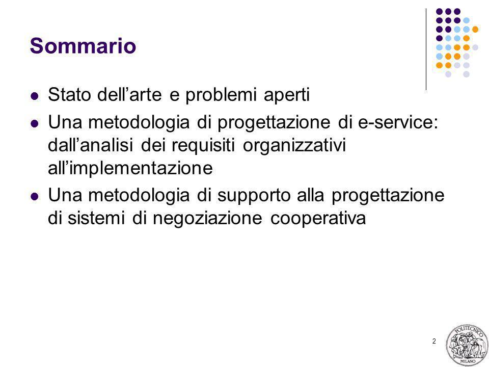 2 Sommario Stato dellarte e problemi aperti Una metodologia di progettazione di e-service: dallanalisi dei requisiti organizzativi allimplementazione Una metodologia di supporto alla progettazione di sistemi di negoziazione cooperativa
