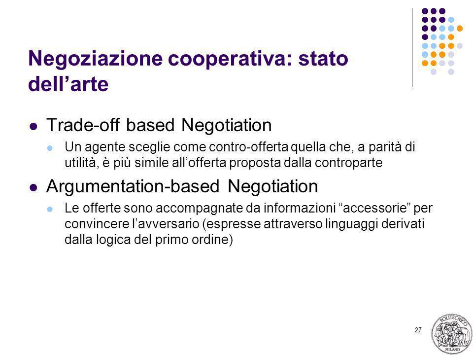 27 Negoziazione cooperativa: stato dellarte Trade-off based Negotiation Un agente sceglie come contro-offerta quella che, a parità di utilità, è più s