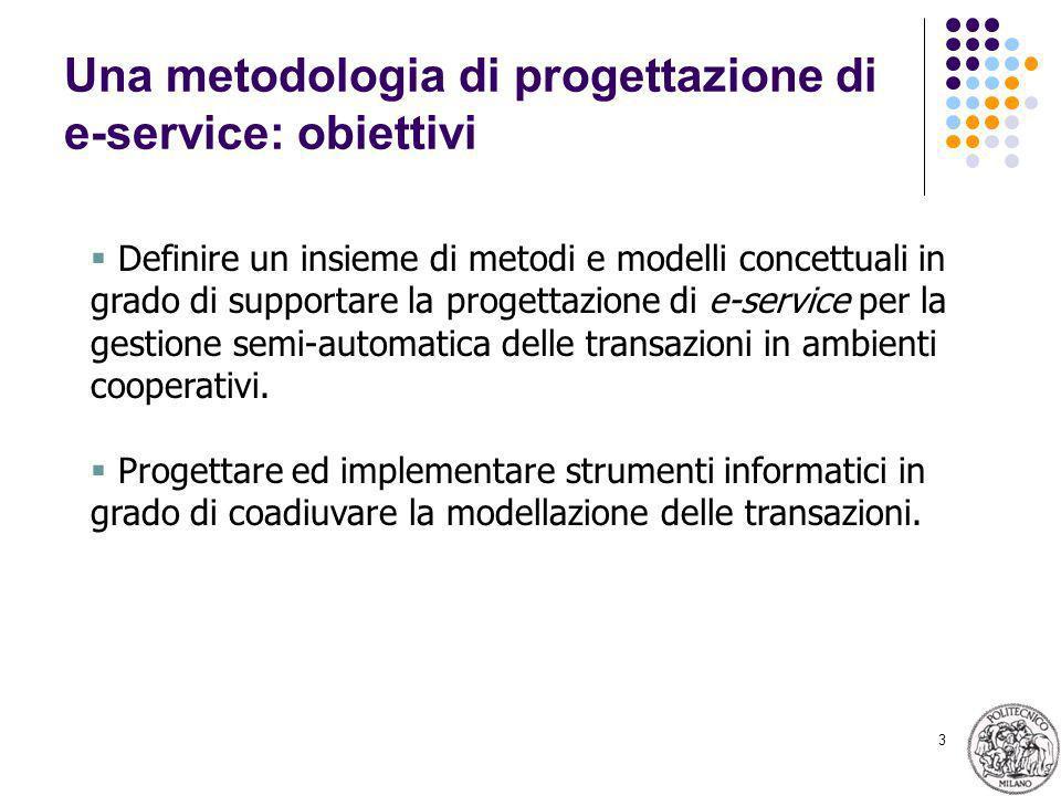 3 Una metodologia di progettazione di e-service: obiettivi Definire un insieme di metodi e modelli concettuali in grado di supportare la progettazione di e-service per la gestione semi-automatica delle transazioni in ambienti cooperativi.