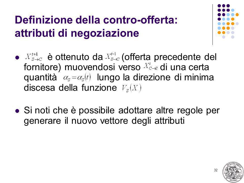 32 Definizione della contro-offerta: attributi di negoziazione è ottenuto da (offerta precedente del fornitore) muovendosi verso di una certa quantità