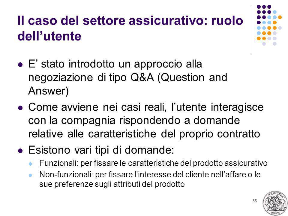 36 Il caso del settore assicurativo: ruolo dellutente E stato introdotto un approccio alla negoziazione di tipo Q&A (Question and Answer) Come avviene