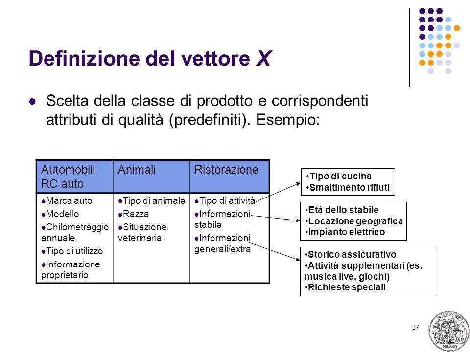 37 Definizione del vettore X Scelta della classe di prodotto e corrispondenti attributi di qualità (predefiniti). Esempio: Automobili RC auto AnimaliR