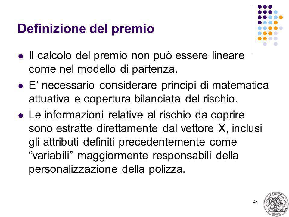 43 Definizione del premio Il calcolo del premio non può essere lineare come nel modello di partenza.
