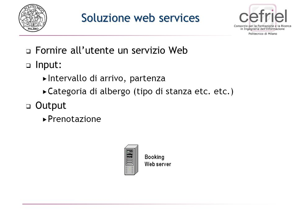 Problemi Lutente deve più volte interagire con i server e cercare di trovare la combinazione giusta di voli A/R e alberghi Tempo perso Processo a volt