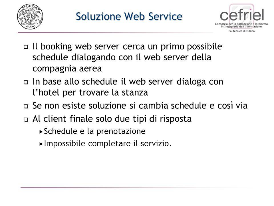 Soluzione Web Services Hotel.com HTTP Server Airline.com Web Server Booking Web server
