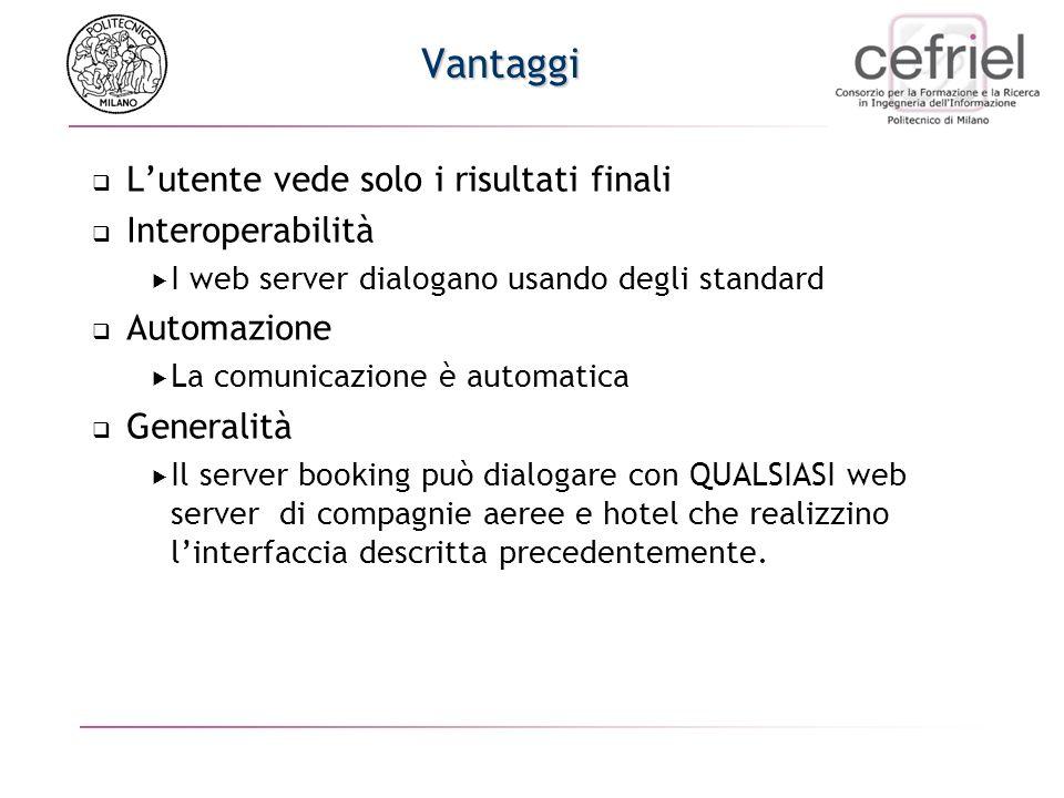 Soluzione Web Service Il booking web server cerca un primo possibile schedule dialogando con il web server della compagnia aerea In base allo schedule