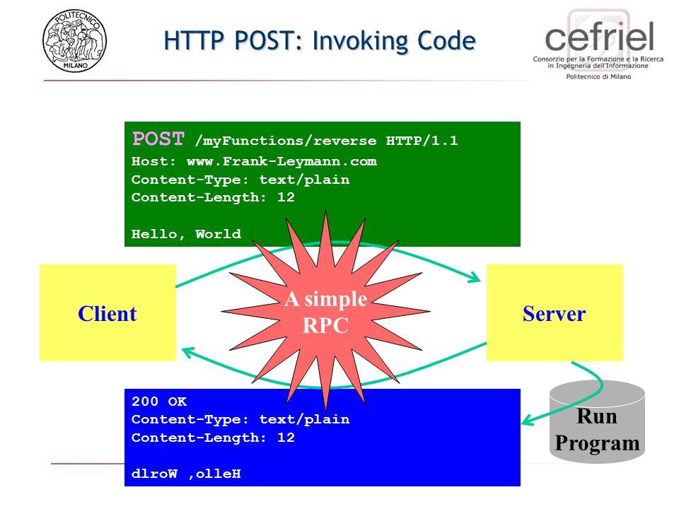 SOAP: Simple Object Access Protocol Fornire un (Object) RPC su Internet Interoperabilità tra un ampio numero di programi su un ampio numero di piattaf