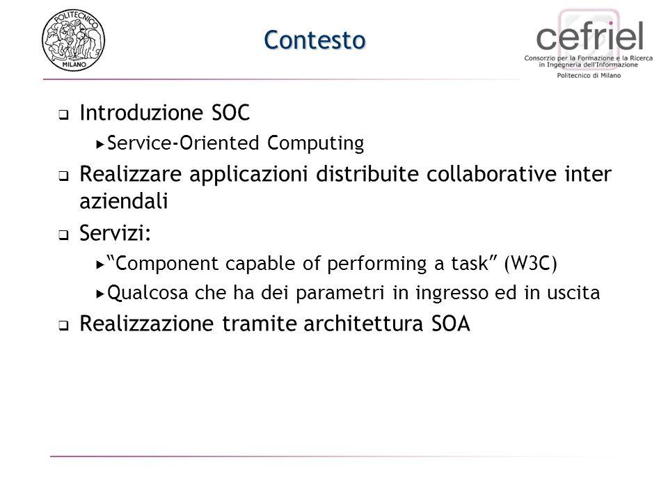 Contesto Introduzione SOC Service-Oriented Computing Realizzare applicazioni distribuite collaborative inter aziendali Servizi: Component capable of performing a task (W3C) Qualcosa che ha dei parametri in ingresso ed in uscita Realizzazione tramite architettura SOA