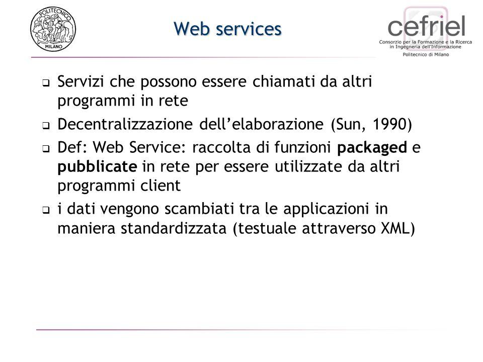 Web services Servizi che possono essere chiamati da altri programmi in rete Decentralizzazione dellelaborazione (Sun, 1990) Def: Web Service: raccolta di funzioni packaged e pubblicate in rete per essere utilizzate da altri programmi client i dati vengono scambiati tra le applicazioni in maniera standardizzata (testuale attraverso XML)