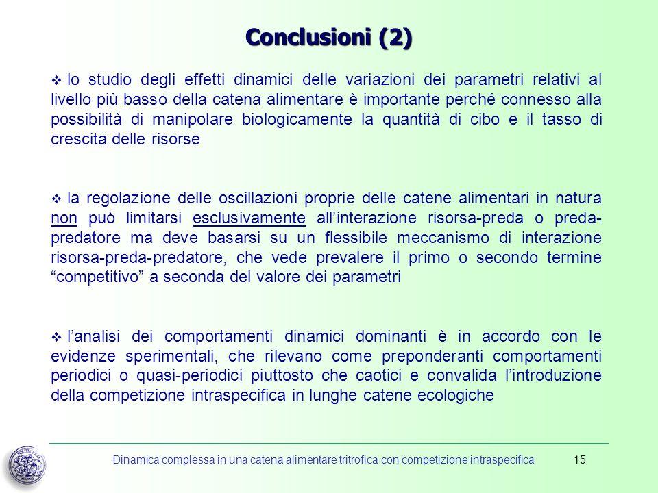 Dinamica complessa in una catena alimentare tritrofica con competizione intraspecifica15 Conclusioni (2) lo studio degli effetti dinamici delle variaz