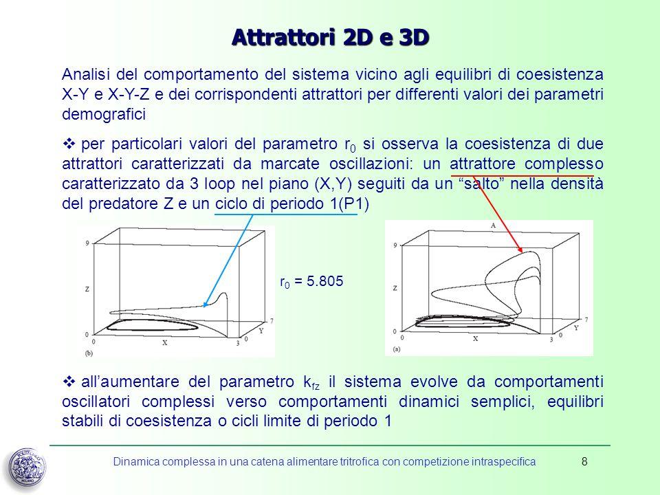 Dinamica complessa in una catena alimentare tritrofica con competizione intraspecifica8 Attrattori 2D e 3D Analisi del comportamento del sistema vicin