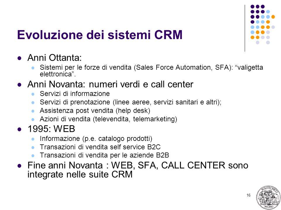 16 Evoluzione dei sistemi CRM Anni Ottanta: Sistemi per le forze di vendita (Sales Force Automation, SFA): valigetta elettronica. Anni Novanta: numeri