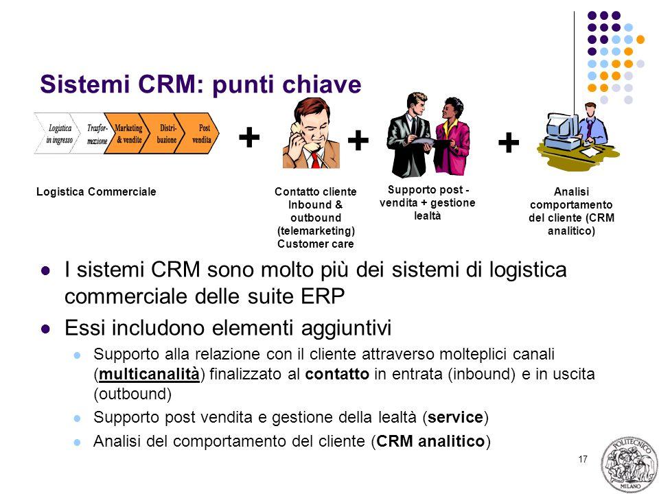 17 Sistemi CRM: punti chiave I sistemi CRM sono molto più dei sistemi di logistica commerciale delle suite ERP Essi includono elementi aggiuntivi Supp