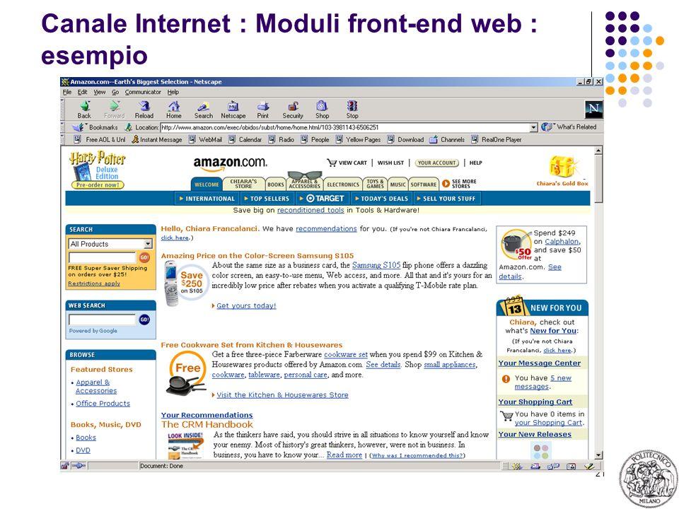 21 Canale Internet : Moduli front-end web : esempio