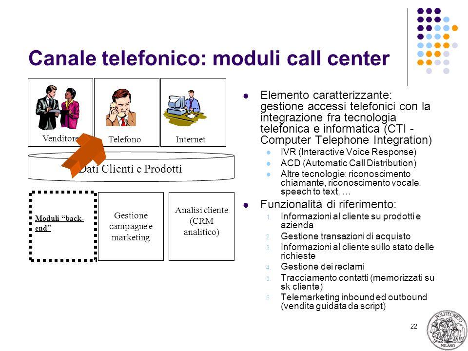 22 Canale telefonico: moduli call center Elemento caratterizzante: gestione accessi telefonici con la integrazione fra tecnologia telefonica e informa