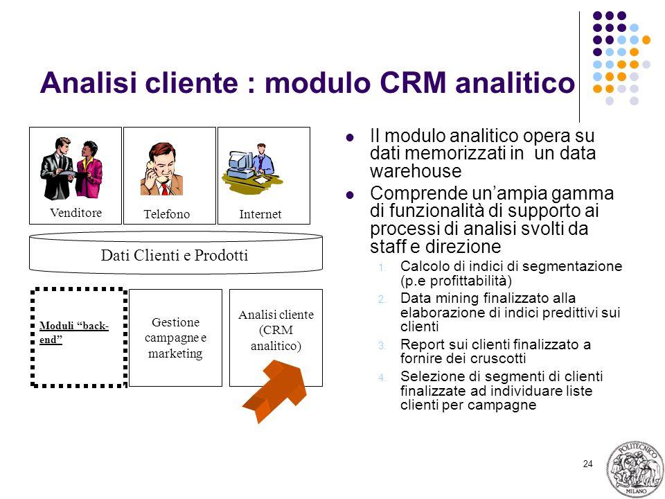 24 Analisi cliente : modulo CRM analitico Il modulo analitico opera su dati memorizzati in un data warehouse Comprende unampia gamma di funzionalità d