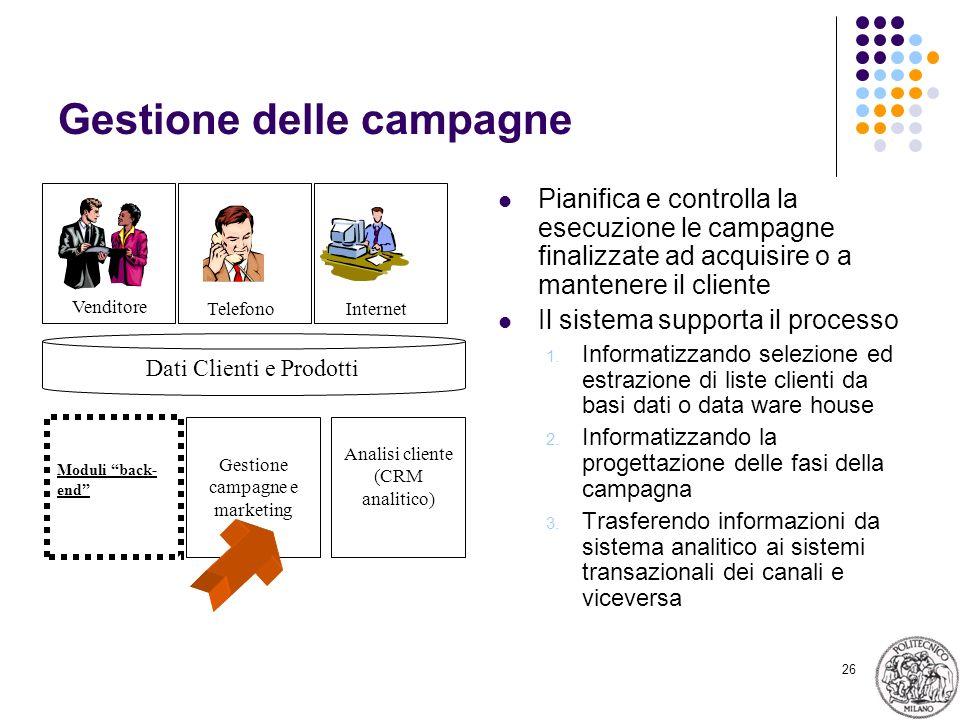 26 Gestione delle campagne Pianifica e controlla la esecuzione le campagne finalizzate ad acquisire o a mantenere il cliente Il sistema supporta il pr