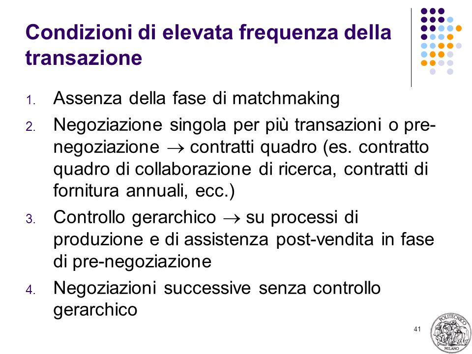41 Condizioni di elevata frequenza della transazione 1. Assenza della fase di matchmaking 2. Negoziazione singola per più transazioni o pre- negoziazi
