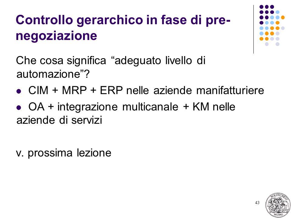43 Controllo gerarchico in fase di pre- negoziazione Che cosa significa adeguato livello di automazione? CIM + MRP + ERP nelle aziende manifatturiere