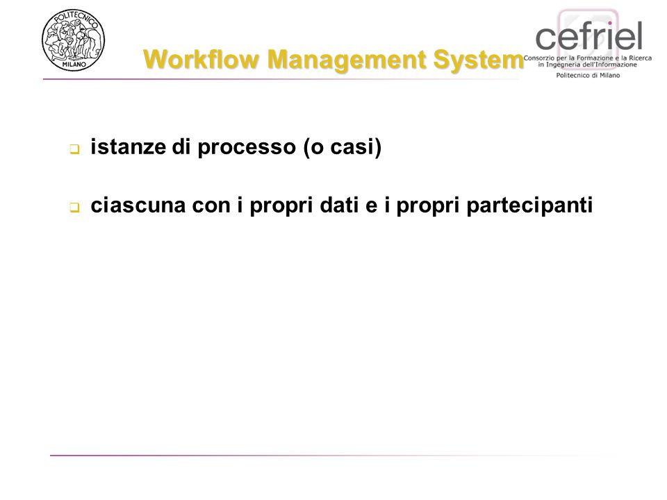 istanze di processo (o casi) ciascuna con i propri dati e i propri partecipanti Workflow Management System