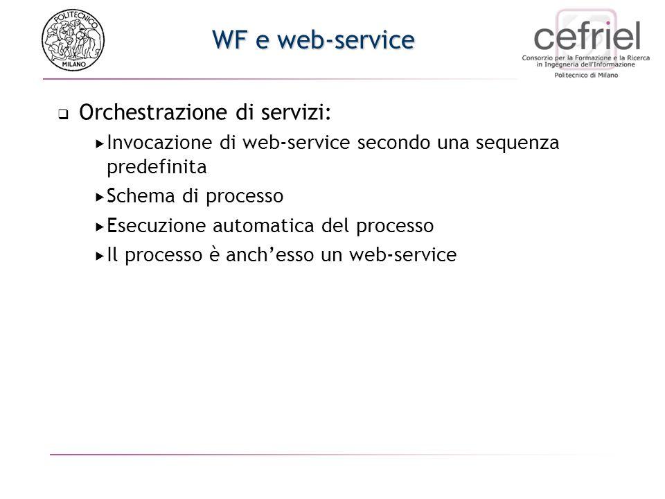 WF e web-service Orchestrazione di servizi: Invocazione di web-service secondo una sequenza predefinita Schema di processo Esecuzione automatica del processo Il processo è anchesso un web-service